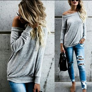Sweaters - Soft Boatneck Off Shoulder Heather Gray Sweater